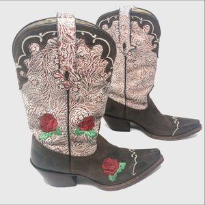 Tony Lama Vaquero Sienna rose Embroidered Boots